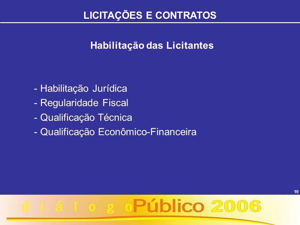 10 Habilitação das Licitantes - Habilitação Jurídica - Regularidade Fiscal - Qualificação Técnica - Qualificação Econômico-Financeira LICITAÇÕES E CON