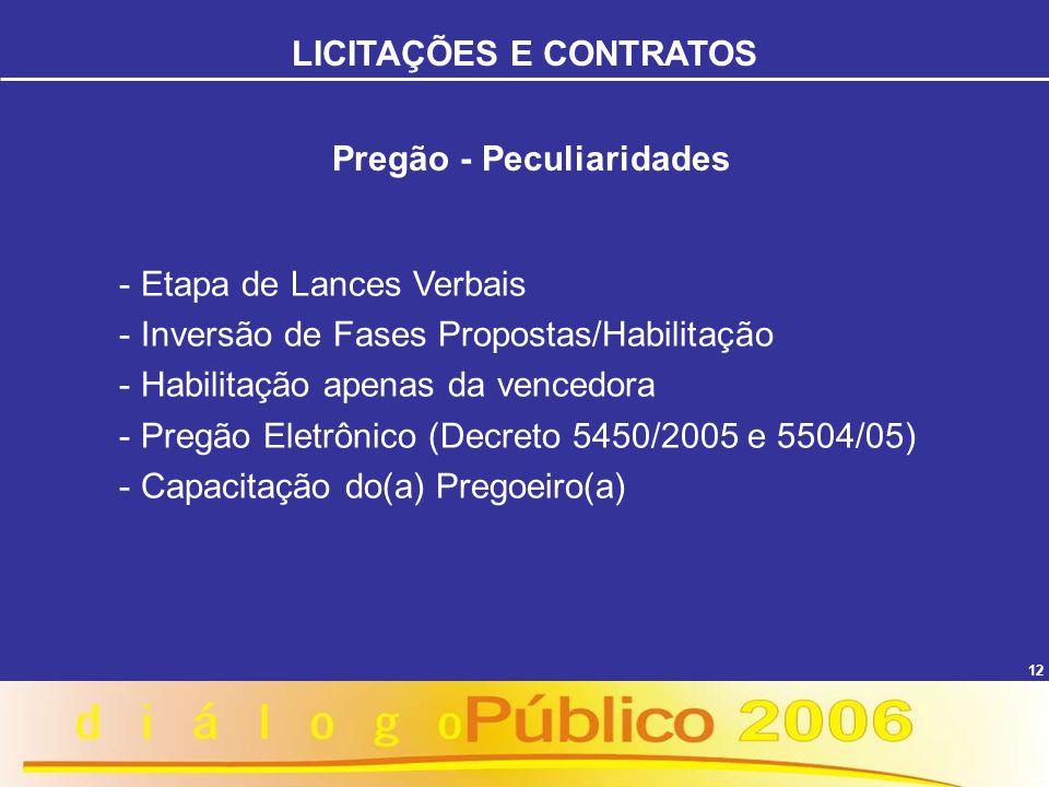 12 Pregão - Peculiaridades - Etapa de Lances Verbais - Inversão de Fases Propostas/Habilitação - Habilitação apenas da vencedora - Pregão Eletrônico (