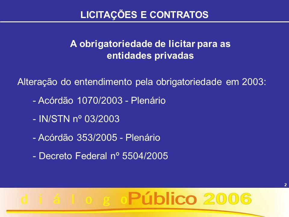 2 Alteração do entendimento pela obrigatoriedade em 2003: - Acórdão 1070/2003 - Plenário - IN/STN nº 03/2003 - Acórdão 353/2005 - Plenário - Decreto F