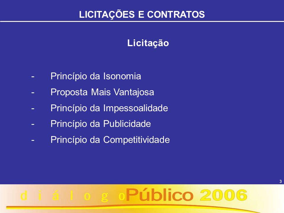 3 Licitação - Princípio da Isonomia - Proposta Mais Vantajosa - Princípio da Impessoalidade - Princípio da Publicidade - Princípio da Competitividade