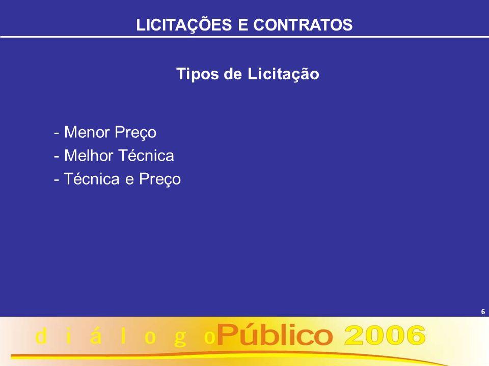7 Fases da Licitação FASE INTERNA: - Estimativa do valor da contratação - Indicação dos Recursos - Escolha da Modalidade e Tipo de Licitação - Elaboração do Edital ou carta-convite LICITAÇÕES E CONTRATOS