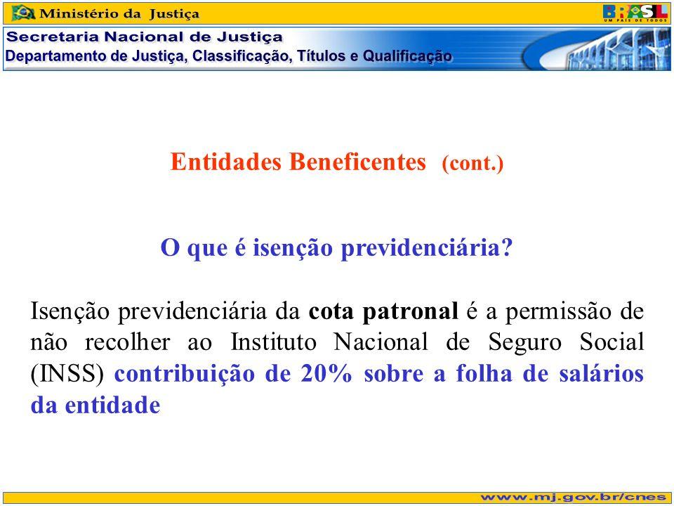 Entidades Beneficentes (cont.) O que é isenção previdenciária? Isenção previdenciária da cota patronal é a permissão de não recolher ao Instituto Naci