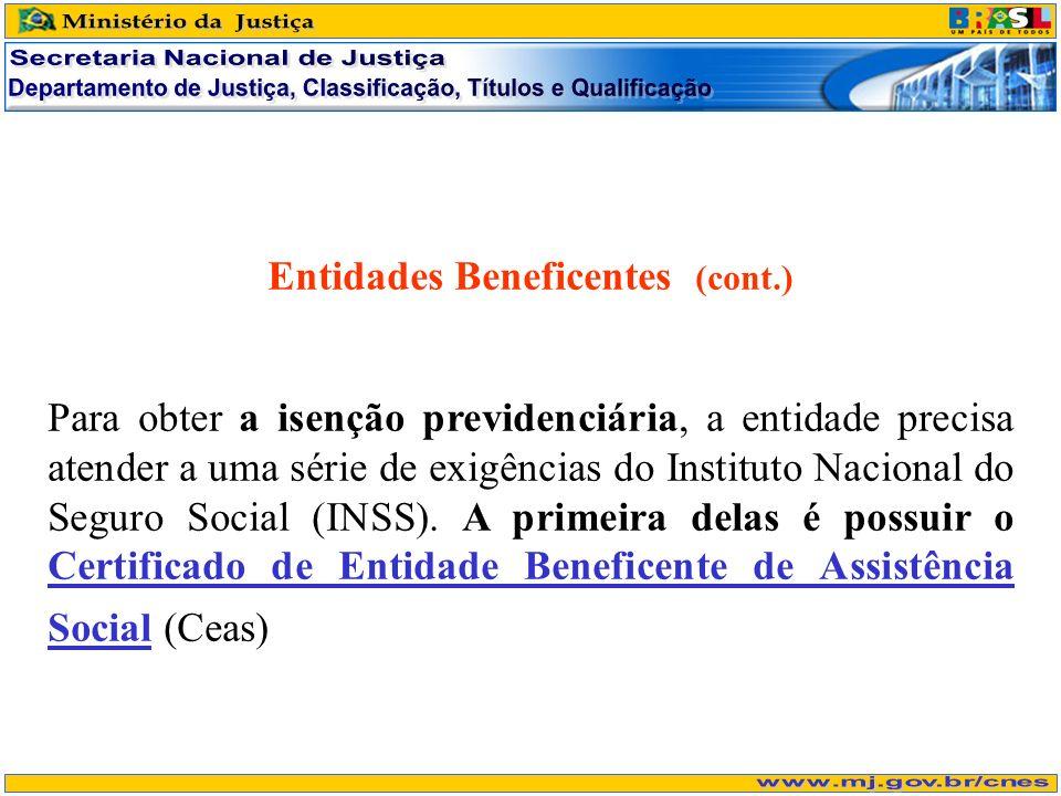 Entidades Beneficentes (cont.) Para obter a isenção previdenciária, a entidade precisa atender a uma série de exigências do Instituto Nacional do Segu