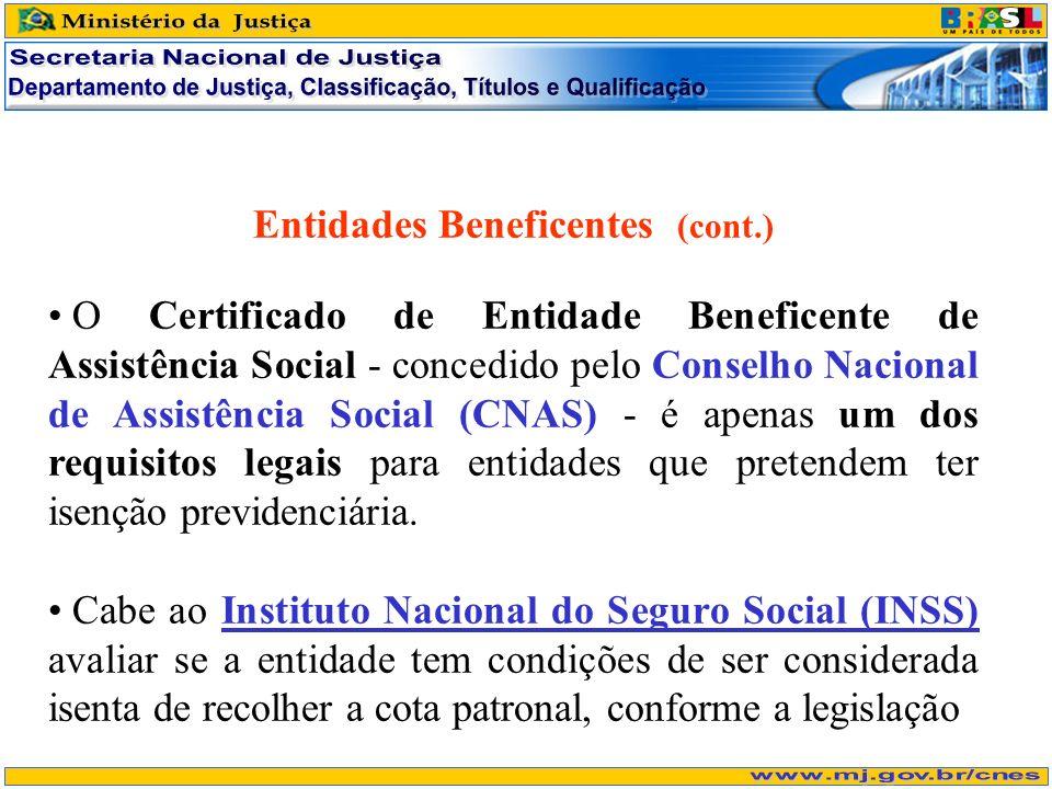 Entidades Beneficentes (cont.) O Certificado de Entidade Beneficente de Assistência Social - concedido pelo Conselho Nacional de Assistência Social (CNAS) - é apenas um dos requisitos legais para entidades que pretendem ter isenção previdenciária.