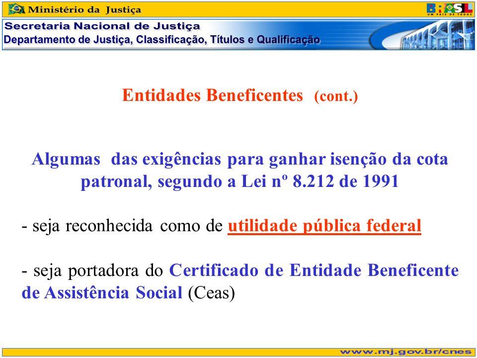 Entidades Beneficentes (cont.) Algumas das exigências para ganhar isenção da cota patronal, segundo a Lei nº 8.212 de 1991 - seja reconhecida como de utilidade pública federal - seja portadora do Certificado de Entidade Beneficente de Assistência Social (Ceas)