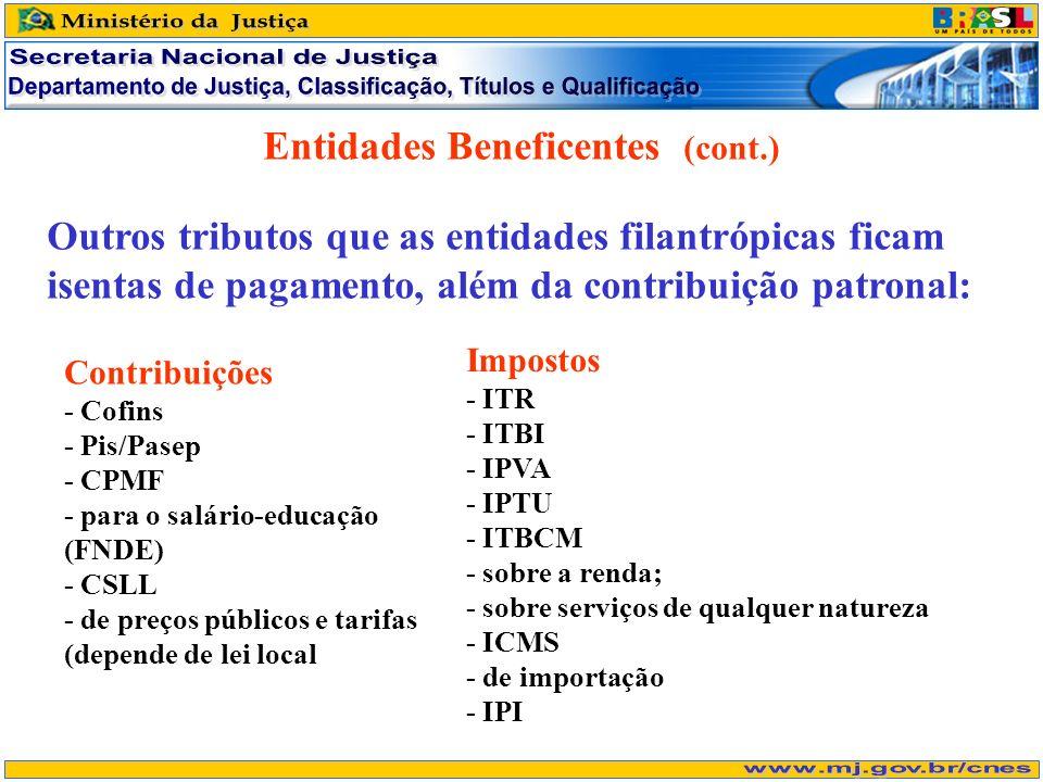 Entidades Beneficentes (cont.) Outros tributos que as entidades filantrópicas ficam isentas de pagamento, além da contribuição patronal: Contribuições