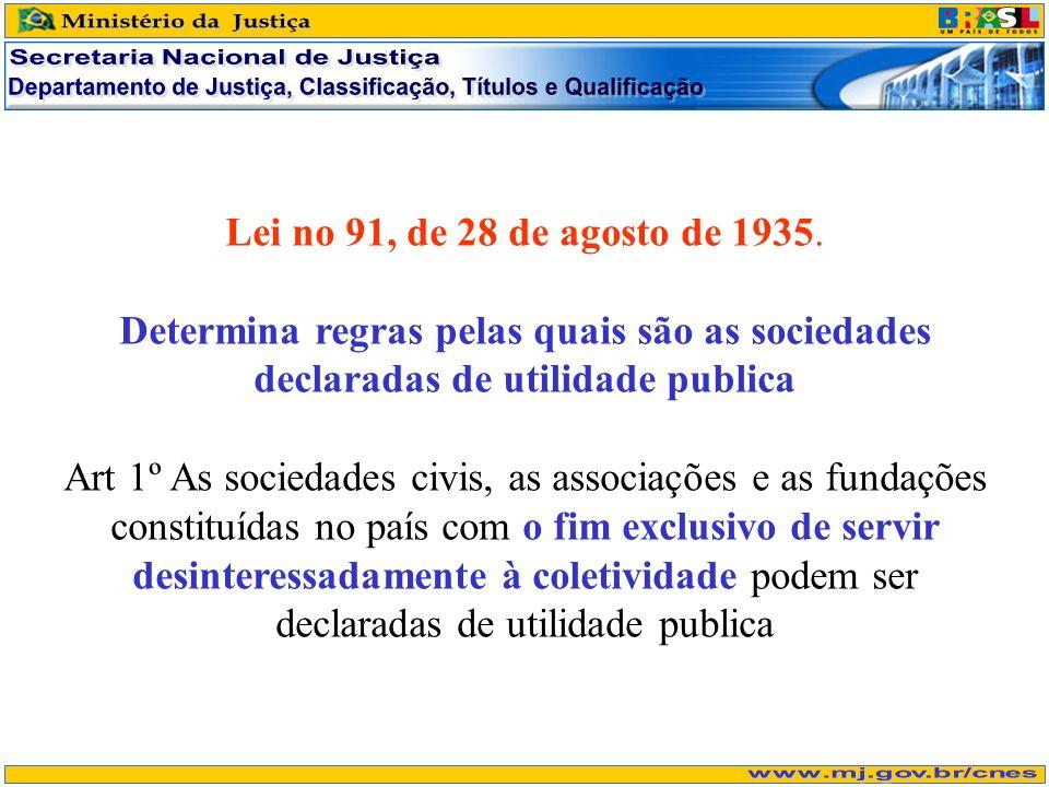 Lei no 91, de 28 de agosto de 1935. Determina regras pelas quais são as sociedades declaradas de utilidade publica Art 1º As sociedades civis, as asso