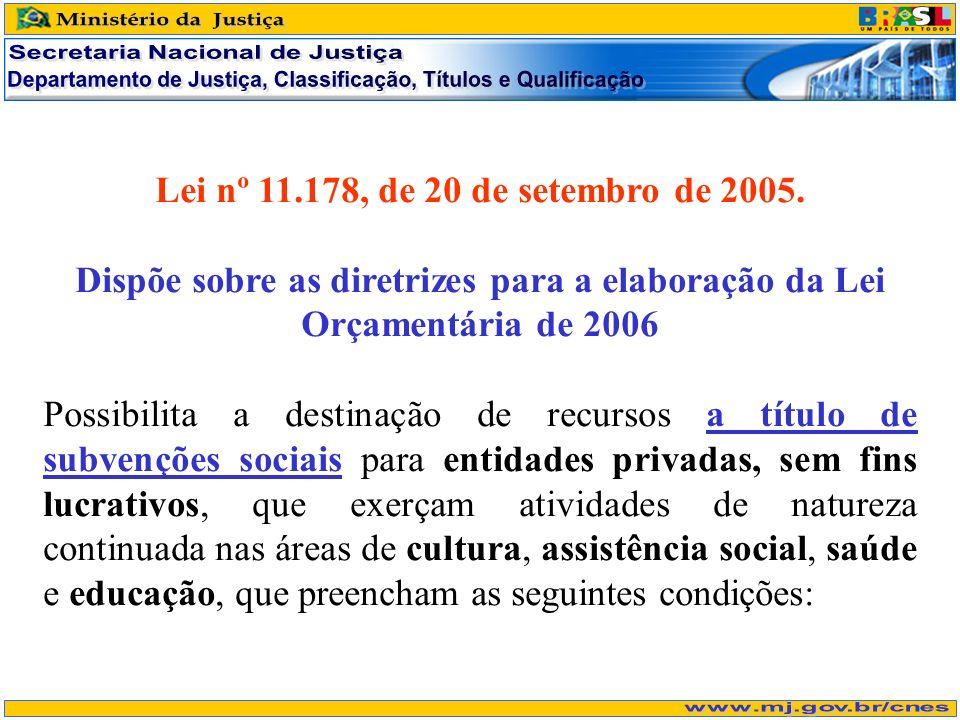 Lei nº 11.178, de 20 de setembro de 2005. Dispõe sobre as diretrizes para a elaboração da Lei Orçamentária de 2006 Possibilita a destinação de recurso