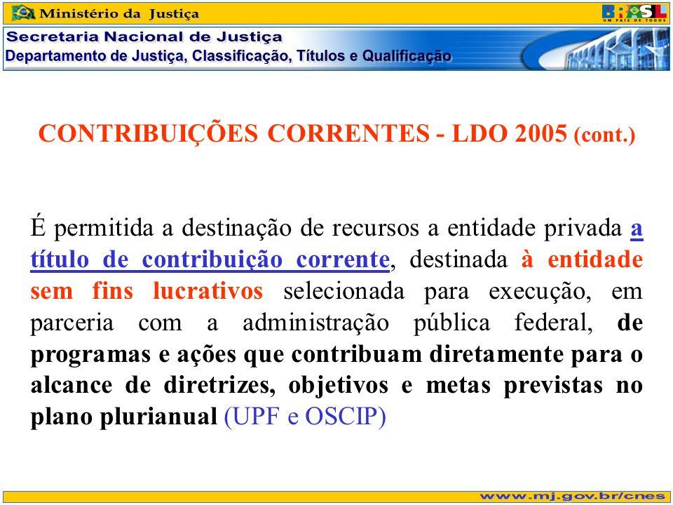 CONTRIBUIÇÕES CORRENTES - LDO 2005 (cont.) É permitida a destinação de recursos a entidade privada a título de contribuição corrente, destinada à enti