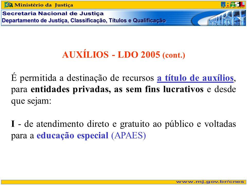 AUXÍLIOS - LDO 2005 (cont.) É permitida a destinação de recursos a título de auxílios, para entidades privadas, as sem fins lucrativos e desde que sej