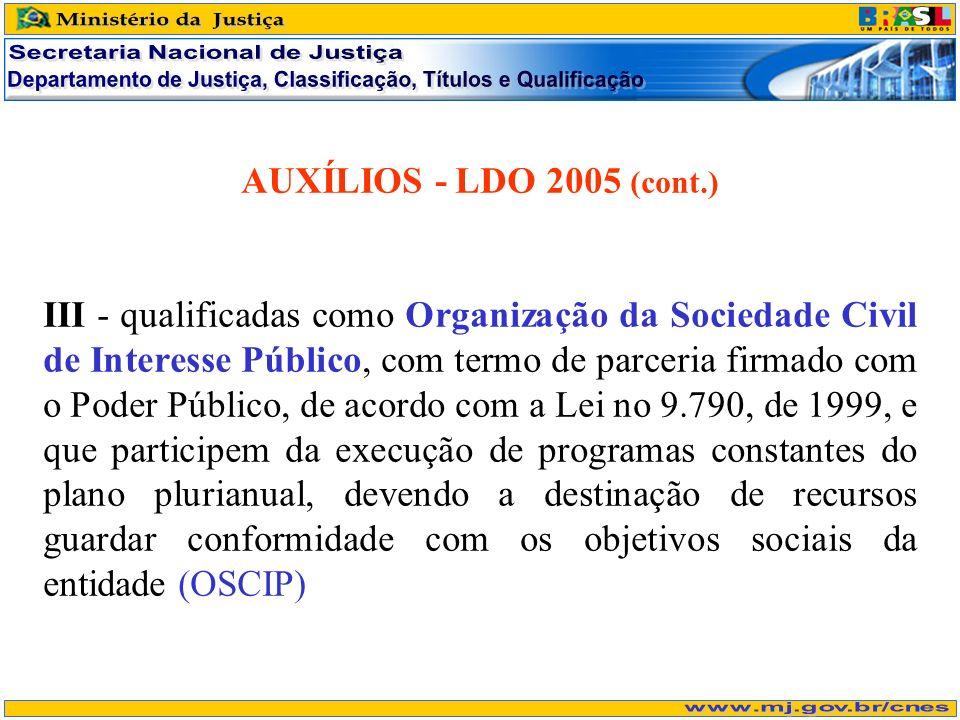 AUXÍLIOS - LDO 2005 (cont.) III - qualificadas como Organização da Sociedade Civil de Interesse Público, com termo de parceria firmado com o Poder Púb
