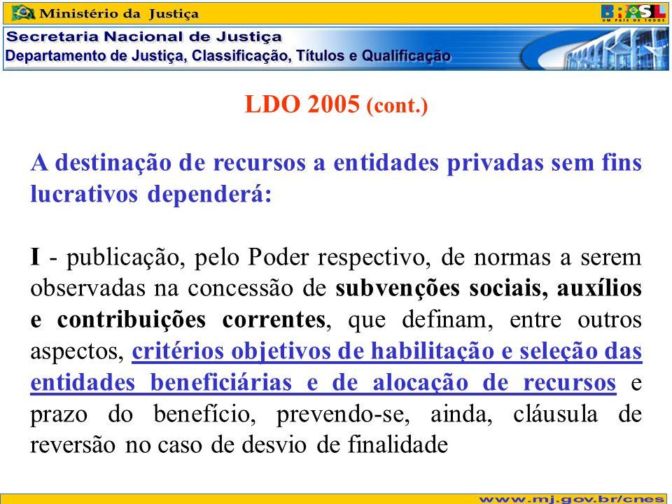 LDO 2005 (cont.) A destinação de recursos a entidades privadas sem fins lucrativos dependerá: I - publicação, pelo Poder respectivo, de normas a serem