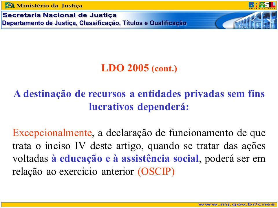 LDO 2005 (cont.) A destinação de recursos a entidades privadas sem fins lucrativos dependerá: Excepcionalmente, a declaração de funcionamento de que t