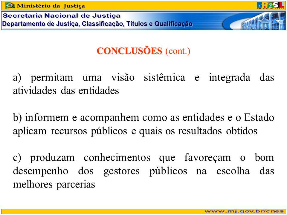CONCLUSÕES CONCLUSÕES (cont.) a) permitam uma visão sistêmica e integrada das atividades das entidades b) informem e acompanhem como as entidades e o