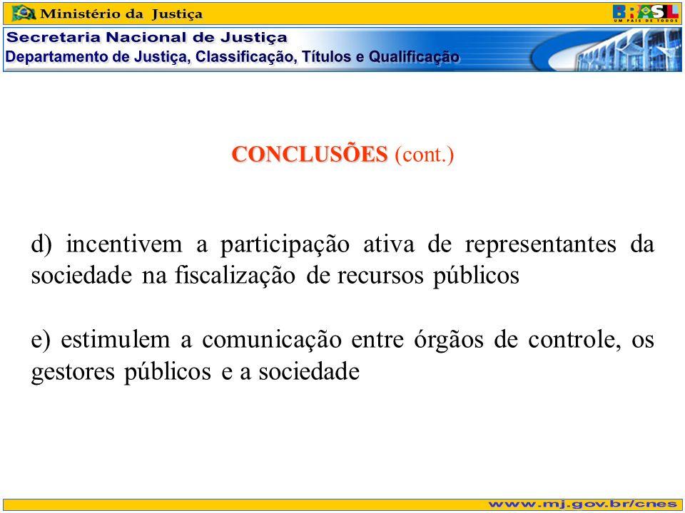 CONCLUSÕES CONCLUSÕES (cont.) d) incentivem a participação ativa de representantes da sociedade na fiscalização de recursos públicos e) estimulem a comunicação entre órgãos de controle, os gestores públicos e a sociedade