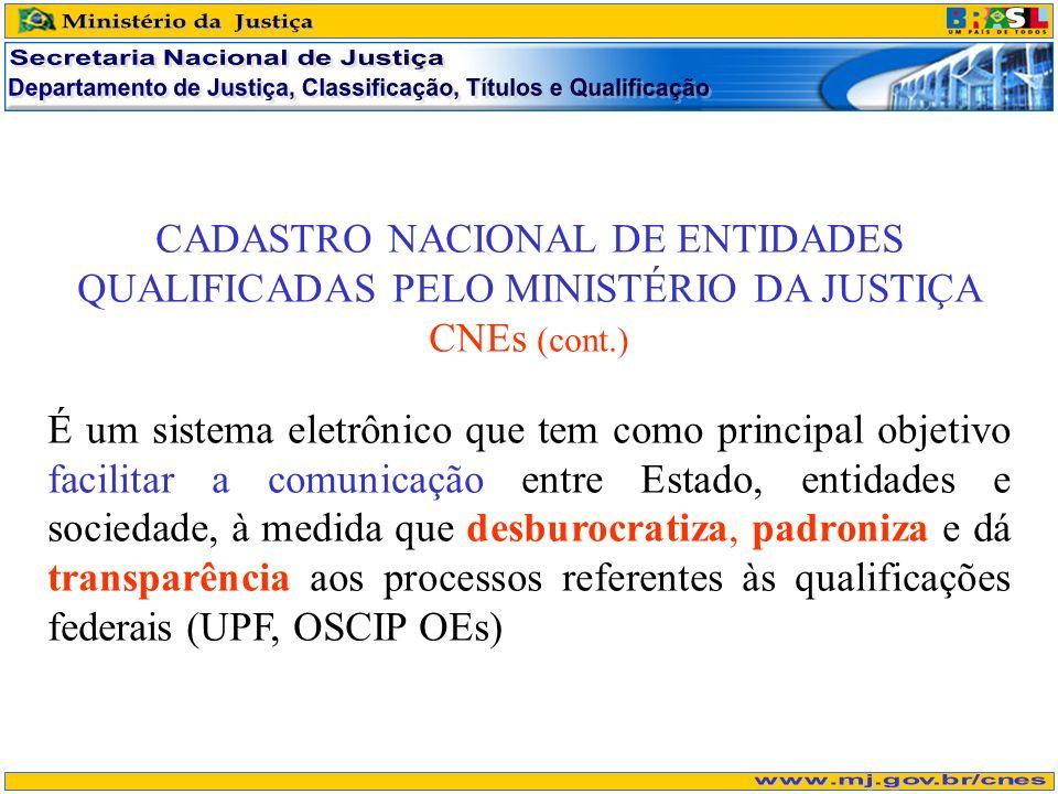 CADASTRO NACIONAL DE ENTIDADES QUALIFICADAS PELO MINISTÉRIO DA JUSTIÇA CNEs (cont.) É um sistema eletrônico que tem como principal objetivo facilitar