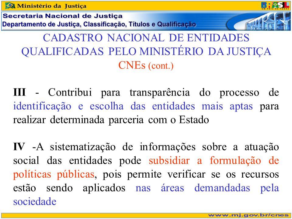 CADASTRO NACIONAL DE ENTIDADES QUALIFICADAS PELO MINISTÉRIO DA JUSTIÇA CNEs (cont.) III - Contribui para transparência do processo de identificação e