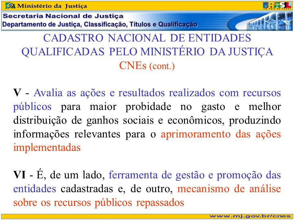 CADASTRO NACIONAL DE ENTIDADES QUALIFICADAS PELO MINISTÉRIO DA JUSTIÇA CNEs (cont.) V - Avalia as ações e resultados realizados com recursos públicos