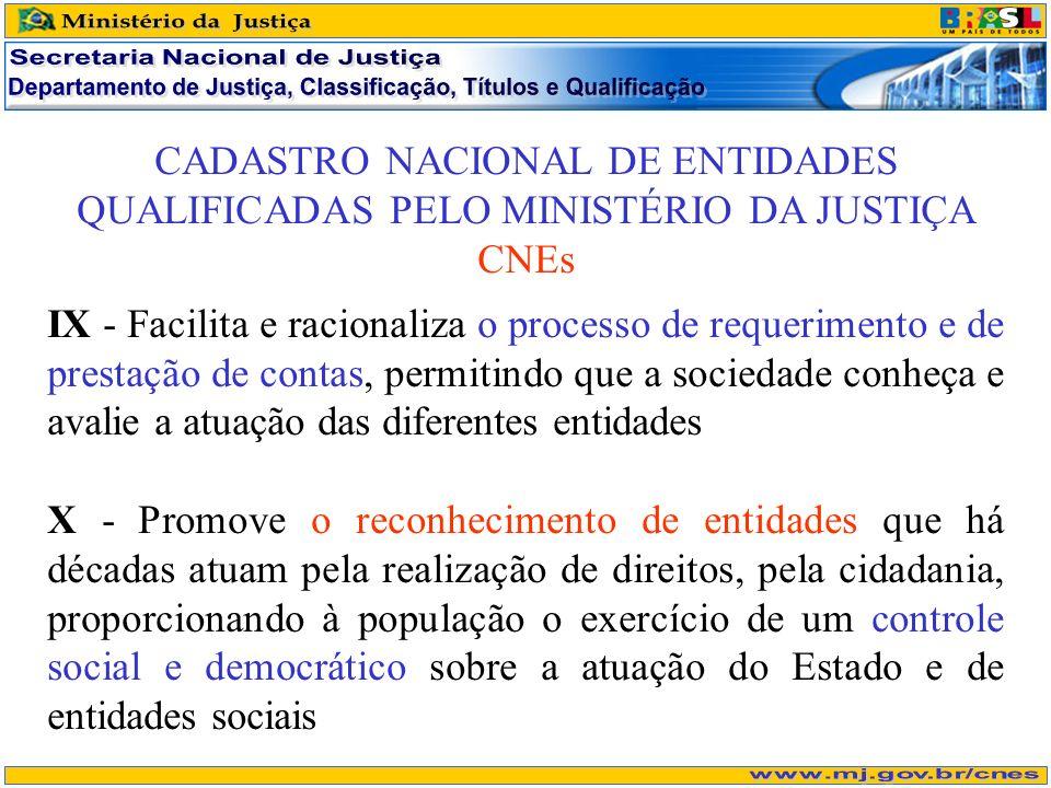 CADASTRO NACIONAL DE ENTIDADES QUALIFICADAS PELO MINISTÉRIO DA JUSTIÇA CNEs IX - Facilita e racionaliza o processo de requerimento e de prestação de c