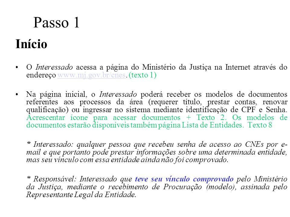 Passo 1 Início O Interessado acessa a página do Ministério da Justiça na Internet através do endereço www.mj.gov.br/cnes. (texto 1)www.mj.gov.br/cnes
