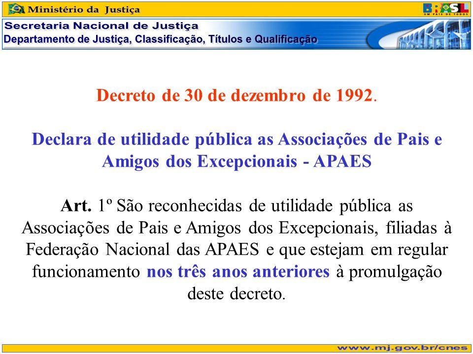 Decreto de 30 de dezembro de 1992. Declara de utilidade pública as Associações de Pais e Amigos dos Excepcionais - APAES Art. 1º São reconhecidas de u
