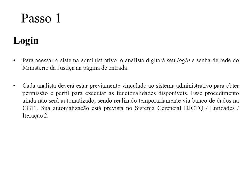 Passo 1 Login Para acessar o sistema administrativo, o analista digitará seu login e senha de rede do Ministério da Justiça na página de entrada. Cada