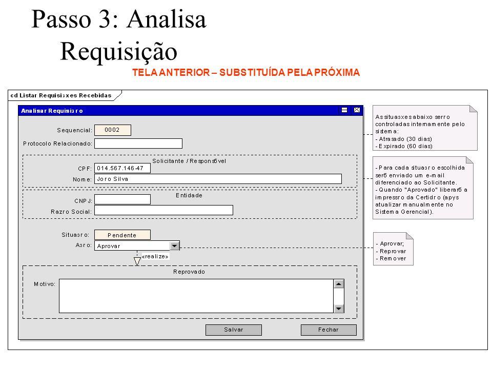 Passo 3: Analisa Requisição TELA ANTERIOR – SUBSTITUÍDA PELA PRÓXIMA