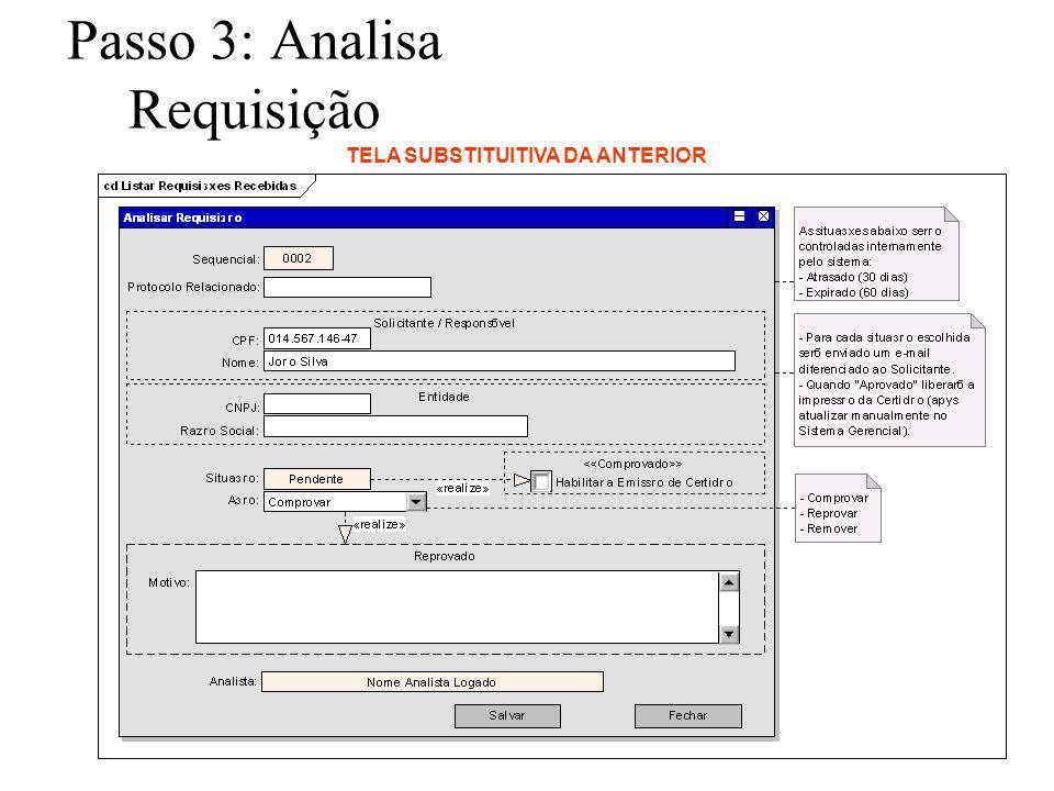 Passo 3: Analisa Requisição TELA SUBSTITUITIVA DA ANTERIOR