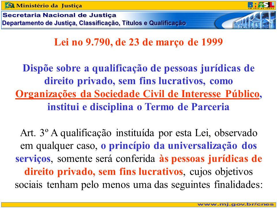 Lei no 9.790, de 23 de março de 1999 Dispõe sobre a qualificação de pessoas jurídicas de direito privado, sem fins lucrativos, como Organizações da Sociedade Civil de Interesse Público, institui e disciplina o Termo de Parceria Art.