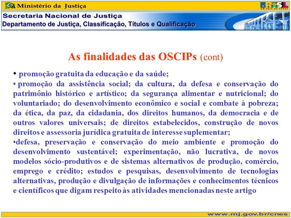 As finalidades das OSCIPs (cont) promoção gratuita da educação e da saúde; promoção da assistência social; da cultura, da defesa e conservação do patr