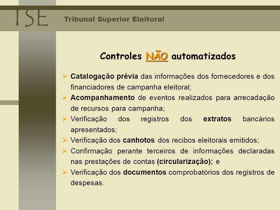 TSE Tribunal Superior Eleitoral NÃO Controles NÃO automatizados Catalogação prévia das informações dos fornecedores e dos financiadores de campanha el