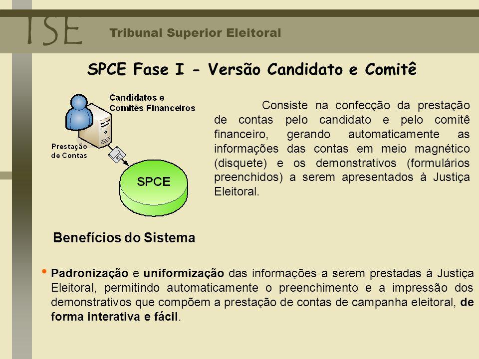 SPCE Fase I - Versão Candidato e Comitê TSE Tribunal Superior Eleitoral Consiste na confecção da prestação de contas pelo candidato e pelo comitê fina