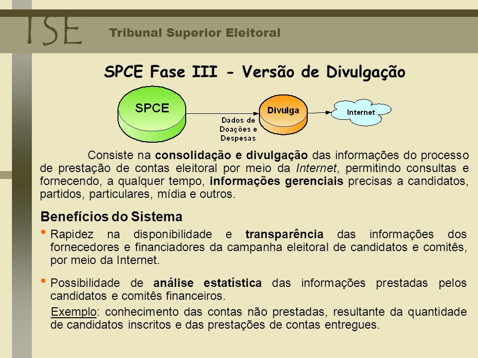TSE Tribunal Superior Eleitoral Consiste na consolidação e divulgação das informações do processo de prestação de contas eleitoral por meio da Interne