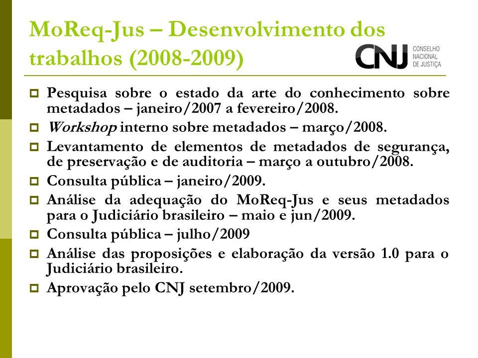MoReq-Jus – Desenvolvimento dos trabalhos (2008-2009) Pesquisa sobre o estado da arte do conhecimento sobre metadados – janeiro/2007 a fevereiro/2008.