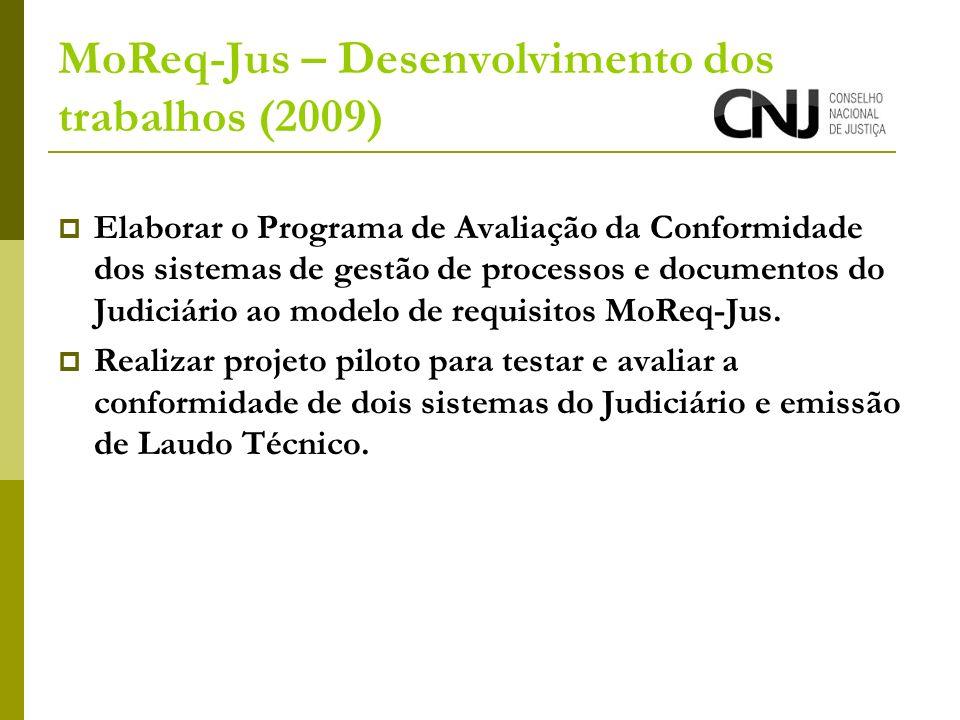 MoReq-Jus – Desenvolvimento dos trabalhos (2009) Elaborar o Programa de Avaliação da Conformidade dos sistemas de gestão de processos e documentos do Judiciário ao modelo de requisitos MoReq-Jus.