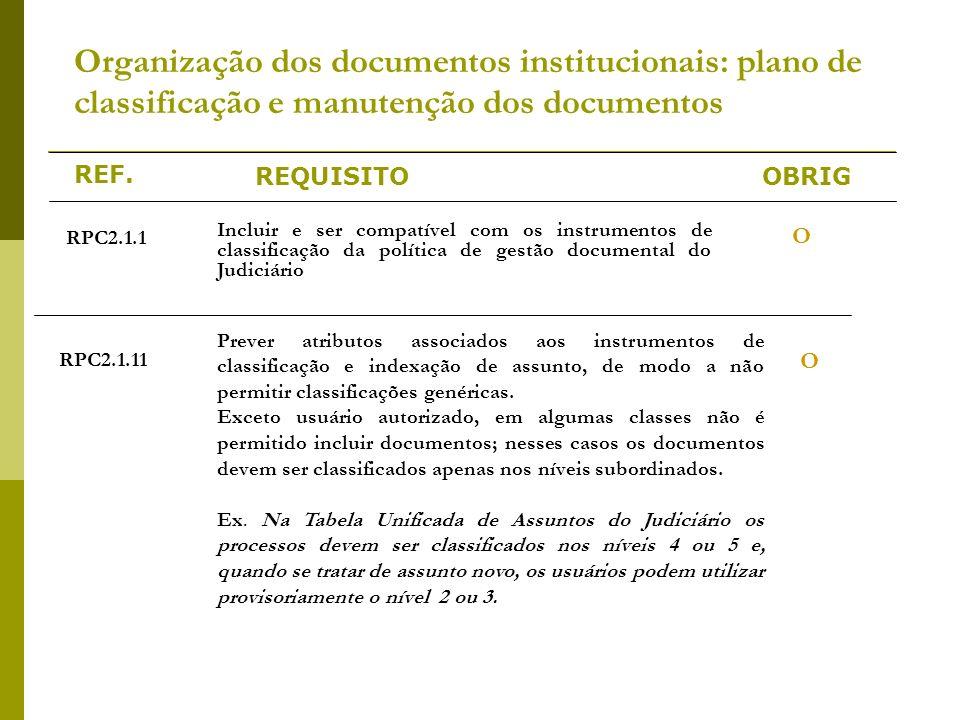 REF. REQUISITOOBRIG Organização dos documentos institucionais: plano de classificação e manutenção dos documentos RPC2.1.1 Incluir e ser compatível co