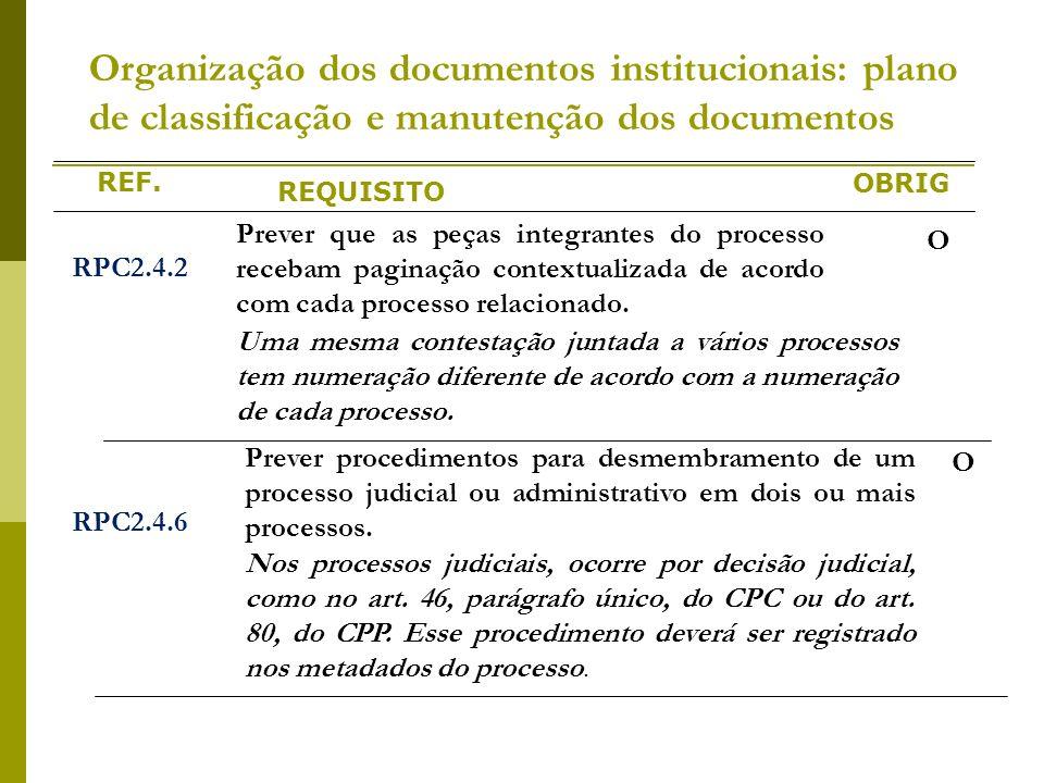 REF. REQUISITO OBRIG Organização dos documentos institucionais: plano de classificação e manutenção dos documentos RPC2.4.2 Prever que as peças integr
