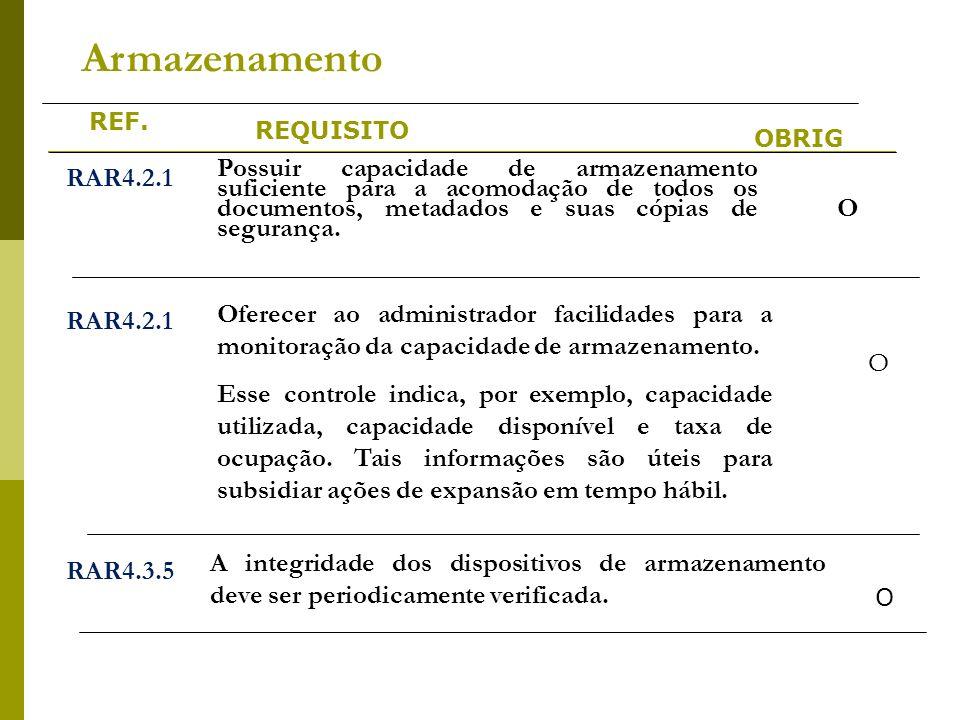 REF. REQUISITO OBRIG Armazenamento RAR4.2.1 Possuir capacidade de armazenamento suficiente para a acomodação de todos os documentos, metadados e suas