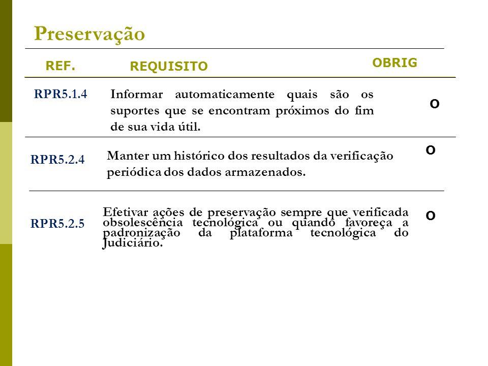 REF. REQUISITO OBRIG Preservação RPR5.1.4Informar automaticamente quais são os suportes que se encontram próximos do fim de sua vida útil. RPR5.2.4 Ma