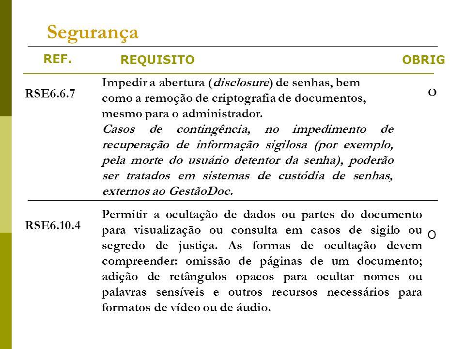 REF. REQUISITOOBRIG Segurança RSE6.6.7 Impedir a abertura (disclosure) de senhas, bem como a remoção de criptografia de documentos, mesmo para o admin