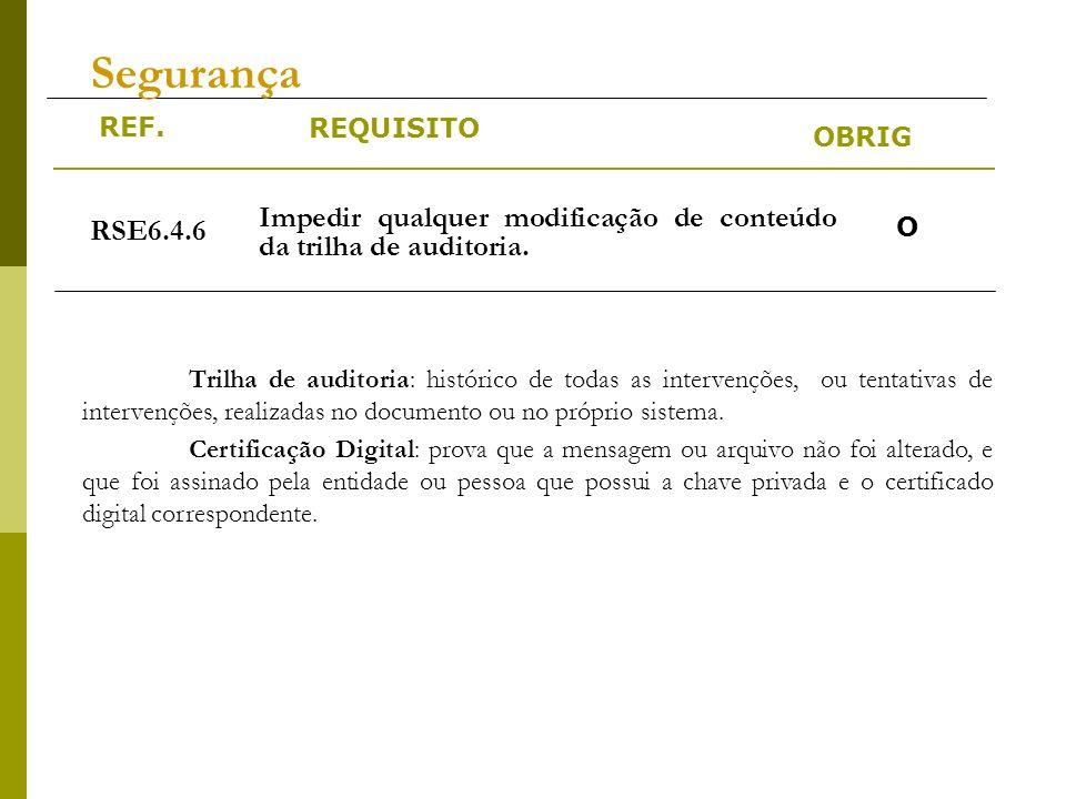 REF. REQUISITO OBRIG Segurança Trilha de auditoria: histórico de todas as intervenções, ou tentativas de intervenções, realizadas no documento ou no p