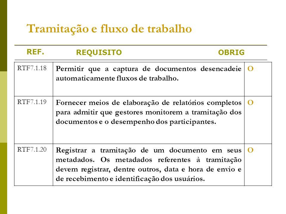 REF. REQUISITOOBRIG Tramitação e fluxo de trabalho RTF7.1.18 Permitir que a captura de documentos desencadeie automaticamente fluxos de trabalho. O RT
