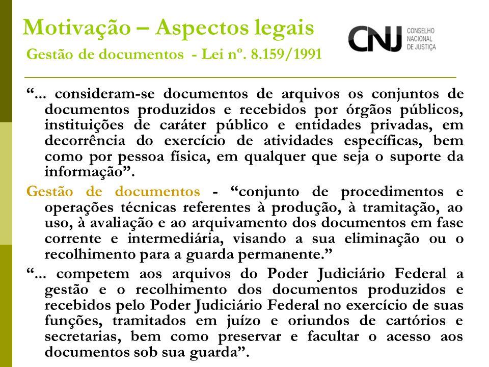 Motivação – Aspectos legais Gestão de documentos - Lei nº. 8.159/1991... consideram-se documentos de arquivos os conjuntos de documentos produzidos e