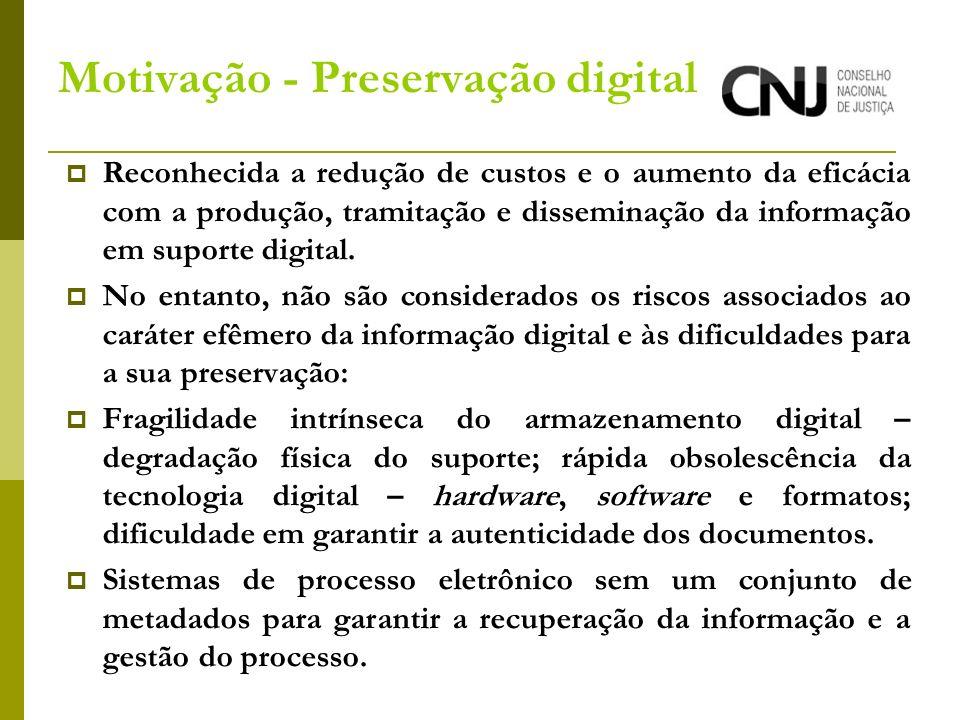 Motivação - Preservação digital Reconhecida a redução de custos e o aumento da eficácia com a produção, tramitação e disseminação da informação em suporte digital.