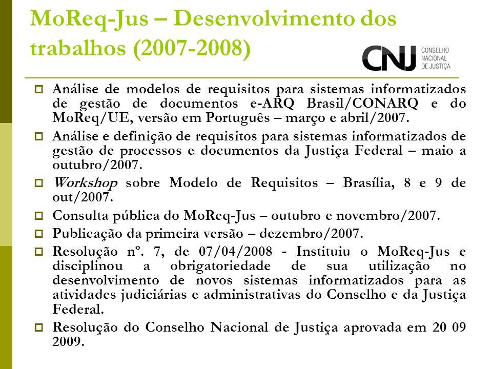 MoReq-Jus – Desenvolvimento dos trabalhos (2007-2008) Análise de modelos de requisitos para sistemas informatizados de gestão de documentos e-ARQ Brasil/CONARQ e do MoReq/UE, versão em Português – março e abril/2007.