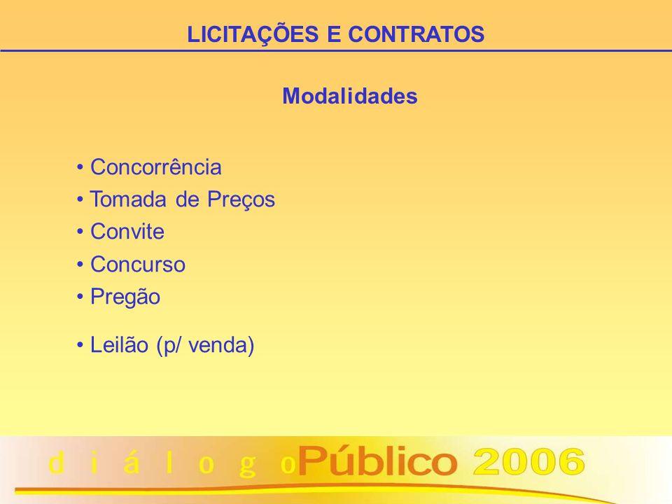 Modalidades Concorrência Tomada de Preços Convite Concurso Pregão Leilão (p/ venda) LICITAÇÕES E CONTRATOS