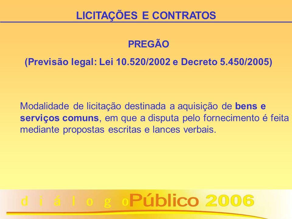 PREGÃO (Previsão legal: Lei 10.520/2002 e Decreto 5.450/2005) Modalidade de licitação destinada a aquisição de bens e serviços comuns, em que a disputa pelo fornecimento é feita mediante propostas escritas e lances verbais.