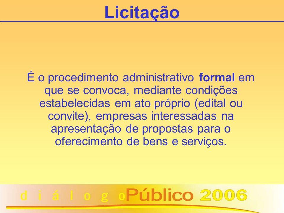 É o procedimento administrativo formal em que se convoca, mediante condições estabelecidas em ato próprio (edital ou convite), empresas interessadas na apresentação de propostas para o oferecimento de bens e serviços.