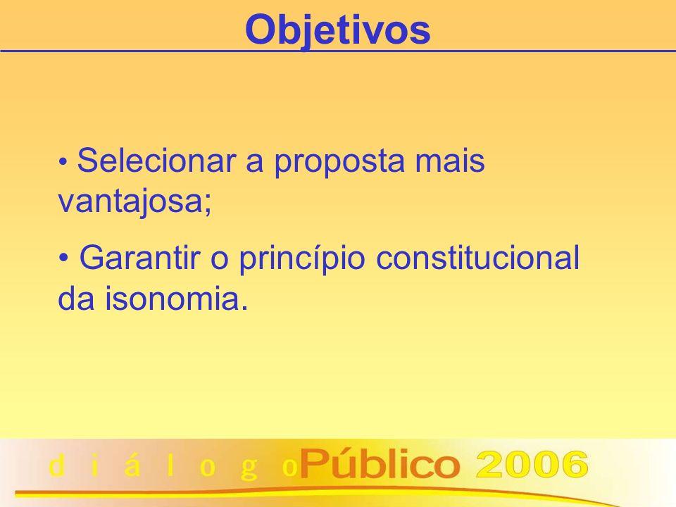 Selecionar a proposta mais vantajosa; Garantir o princípio constitucional da isonomia. Objetivos