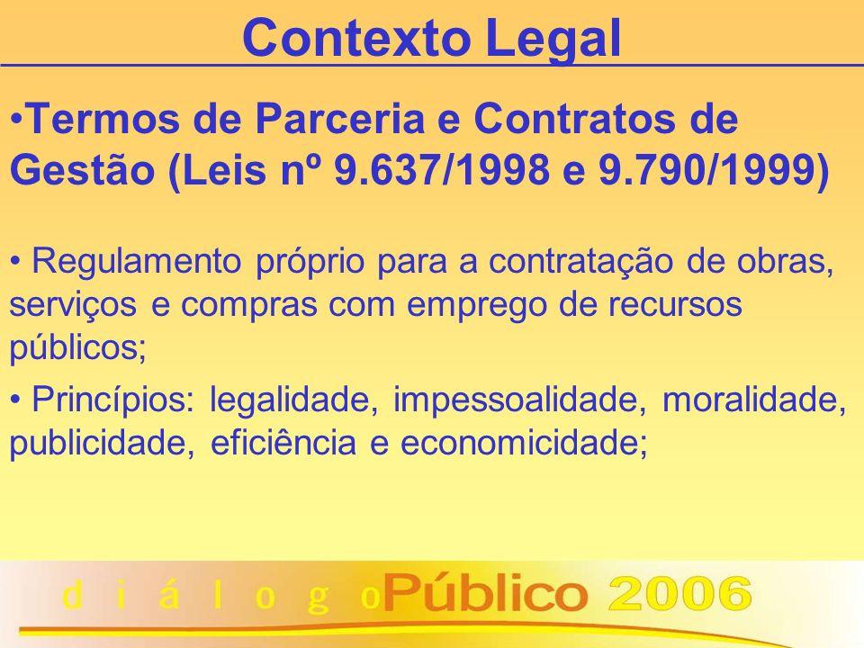 Contexto Legal Termos de Parceria e Contratos de Gestão (Leis nº 9.637/1998 e 9.790/1999) Regulamento próprio para a contratação de obras, serviços e compras com emprego de recursos públicos; Princípios: legalidade, impessoalidade, moralidade, publicidade, eficiência e economicidade;